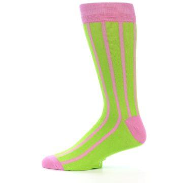 Image of Lime Pink Vertical Stripe Men's Dress Socks (side-2-12)