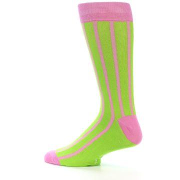 Image of Lime Pink Vertical Stripe Men's Dress Socks (side-2-13)