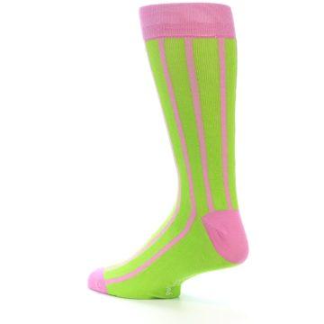 Image of Lime Pink Vertical Stripe Men's Dress Socks (side-2-back-14)