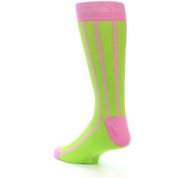 Image of Lime Pink Vertical Stripe Men's Dress Socks (side-2-back-15)