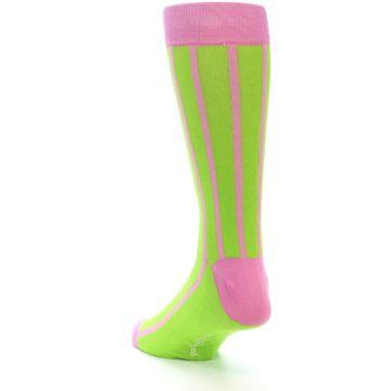 Image of Lime Pink Vertical Stripe Men's Dress Socks (side-2-back-16)