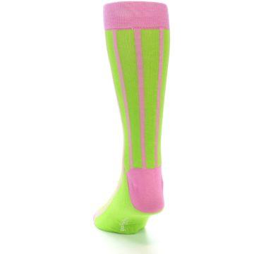 Image of Lime Pink Vertical Stripe Men's Dress Socks (back-17)