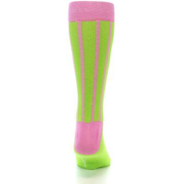 Image of Lime Pink Vertical Stripe Men's Dress Socks (back-19)