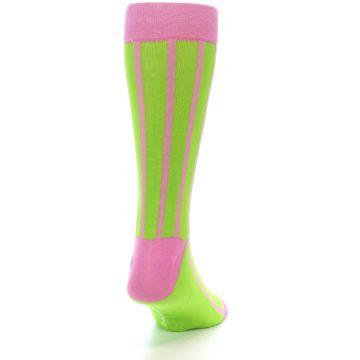 Image of Lime Pink Vertical Stripe Men's Dress Socks (side-1-back-20)