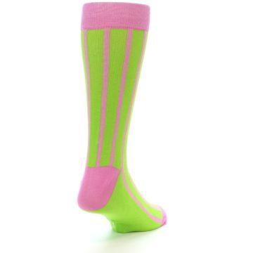 Image of Lime Pink Vertical Stripe Men's Dress Socks (side-1-back-21)