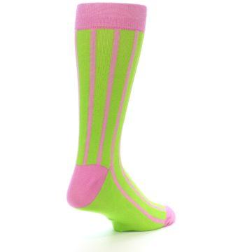 Image of Lime Pink Vertical Stripe Men's Dress Socks (side-1-back-22)
