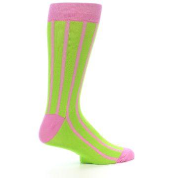 Image of Lime Pink Vertical Stripe Men's Dress Socks (side-1-24)