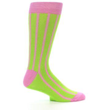 Image of Lime Pink Vertical Stripe Men's Dress Socks (side-1-25)