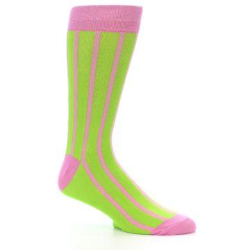 Image of Lime Pink Vertical Stripe Men's Dress Socks (side-1-26)