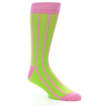 Image of Lime Pink Vertical Stripe Men's Dress Socks (side-1-27)
