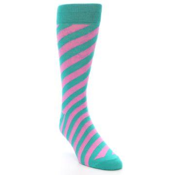 Image of Jade Green Pink Angle Stripe Men's Dress Socks (side-1-front-02)