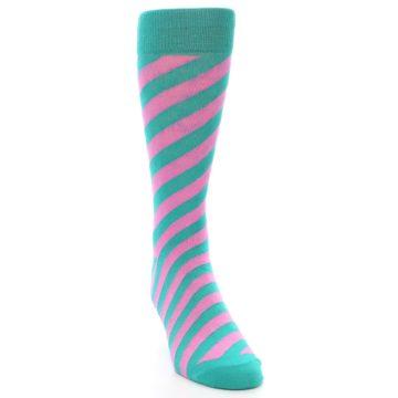 Image of Jade Green Pink Angle Stripe Men's Dress Socks (side-1-front-03)