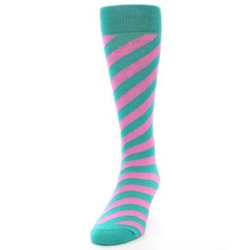 Image of Jade Green Pink Angle Stripe Men's Dress Socks (side-2-front-06)