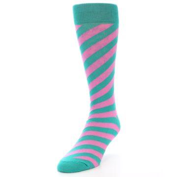 Image of Jade Green Pink Angle Stripe Men's Dress Socks (side-2-front-07)