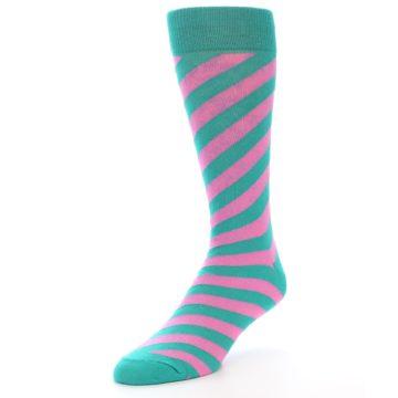 Image of Jade Green Pink Angle Stripe Men's Dress Socks (side-2-front-08)