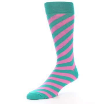 Image of Jade Green Pink Angle Stripe Men's Dress Socks (side-2-09)