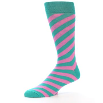 Image of Jade Green Pink Angle Stripe Men's Dress Socks (side-2-10)