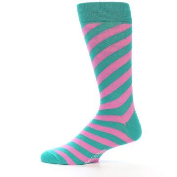 Image of Jade Green Pink Angle Stripe Men's Dress Socks (side-2-12)