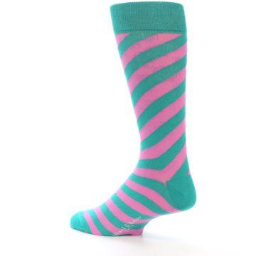 Image of Jade Green Pink Angle Stripe Men's Dress Socks (side-2-back-14)