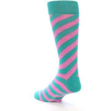 Image of Jade Green Pink Angle Stripe Men's Dress Socks (side-2-back-15)