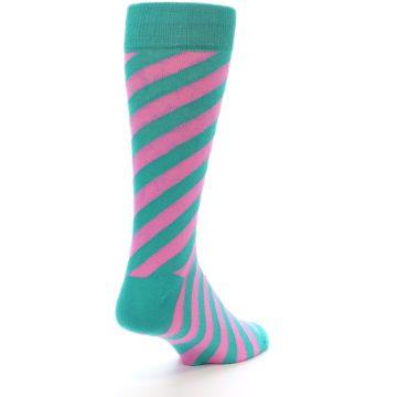 Image of Jade Green Pink Angle Stripe Men's Dress Socks (side-1-back-21)