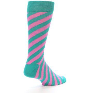 Image of Jade Green Pink Angle Stripe Men's Dress Socks (side-1-back-22)