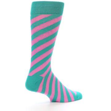 Image of Jade Green Pink Angle Stripe Men's Dress Socks (side-1-23)