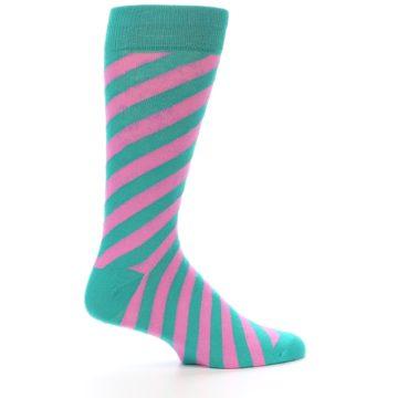 Image of Jade Green Pink Angle Stripe Men's Dress Socks (side-1-24)