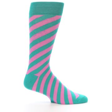 Image of Jade Green Pink Angle Stripe Men's Dress Socks (side-1-25)