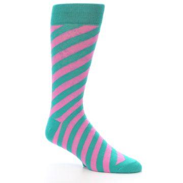 Image of Jade Green Pink Angle Stripe Men's Dress Socks (side-1-27)