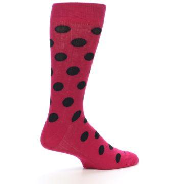 Image of Fuchsia Black Polka Dot Men's Dress Sock (side-1-24)