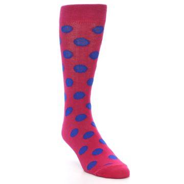 Image of Fuchsia Royal Blue Polka Dot Men's Dress Socks (side-1-front-02)