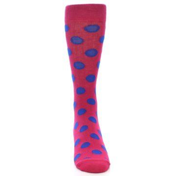 Image of Fuchsia Royal Blue Polka Dot Men's Dress Socks (front-04)