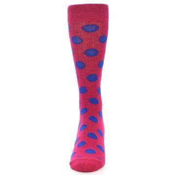 Image of Fuchsia Royal Blue Polka Dot Men's Dress Socks (front-05)