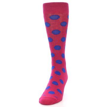 Image of Fuchsia Royal Blue Polka Dot Men's Dress Socks (side-2-front-06)
