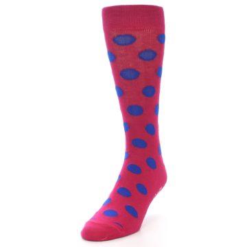 Image of Fuchsia Royal Blue Polka Dot Men's Dress Socks (side-2-front-07)