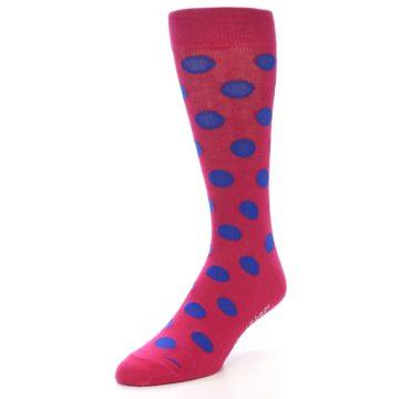 Image of Fuchsia Royal Blue Polka Dot Men's Dress Socks (side-2-front-08)