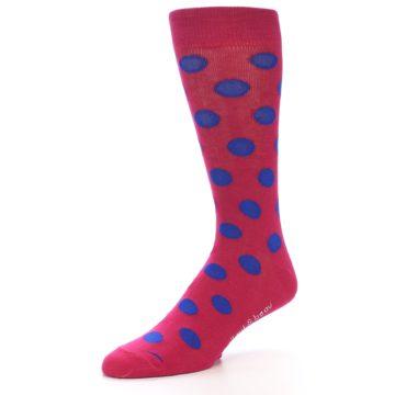 Image of Fuchsia Royal Blue Polka Dot Men's Dress Socks (side-2-09)