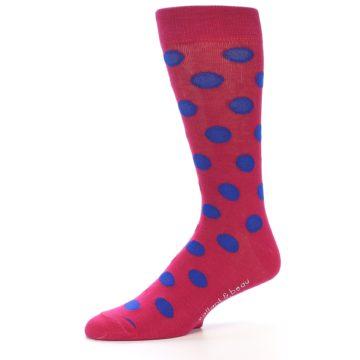 Image of Fuchsia Royal Blue Polka Dot Men's Dress Socks (side-2-10)
