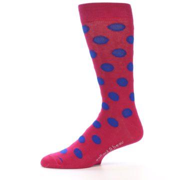 Image of Fuchsia Royal Blue Polka Dot Men's Dress Socks (side-2-11)