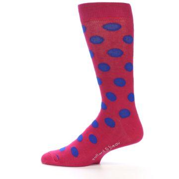 Image of Fuchsia Royal Blue Polka Dot Men's Dress Socks (side-2-12)