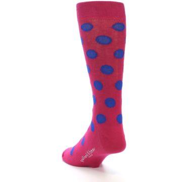 Image of Fuchsia Royal Blue Polka Dot Men's Dress Socks (side-2-back-16)