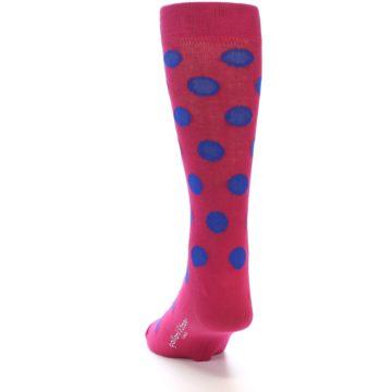 Image of Fuchsia Royal Blue Polka Dot Men's Dress Socks (back-17)
