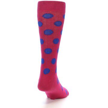 Image of Fuchsia Royal Blue Polka Dot Men's Dress Socks (side-1-back-20)