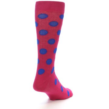 Image of Fuchsia Royal Blue Polka Dot Men's Dress Socks (side-1-back-21)