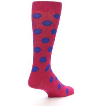 Image of Fuchsia Royal Blue Polka Dot Men's Dress Socks (side-1-back-22)