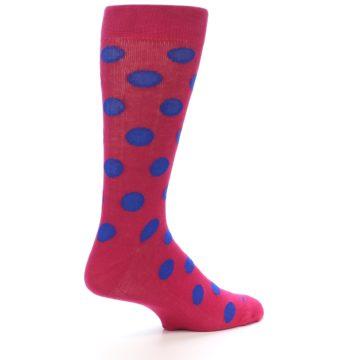 Image of Fuchsia Royal Blue Polka Dot Men's Dress Socks (side-1-23)