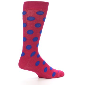Image of Fuchsia Royal Blue Polka Dot Men's Dress Socks (side-1-24)