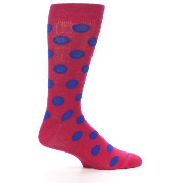Image of Fuchsia Royal Blue Polka Dot Men's Dress Socks (side-1-25)