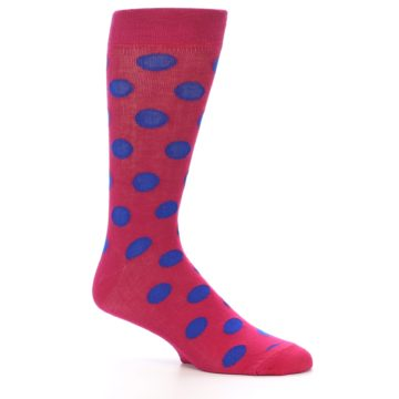 Image of Fuchsia Royal Blue Polka Dot Men's Dress Socks (side-1-26)